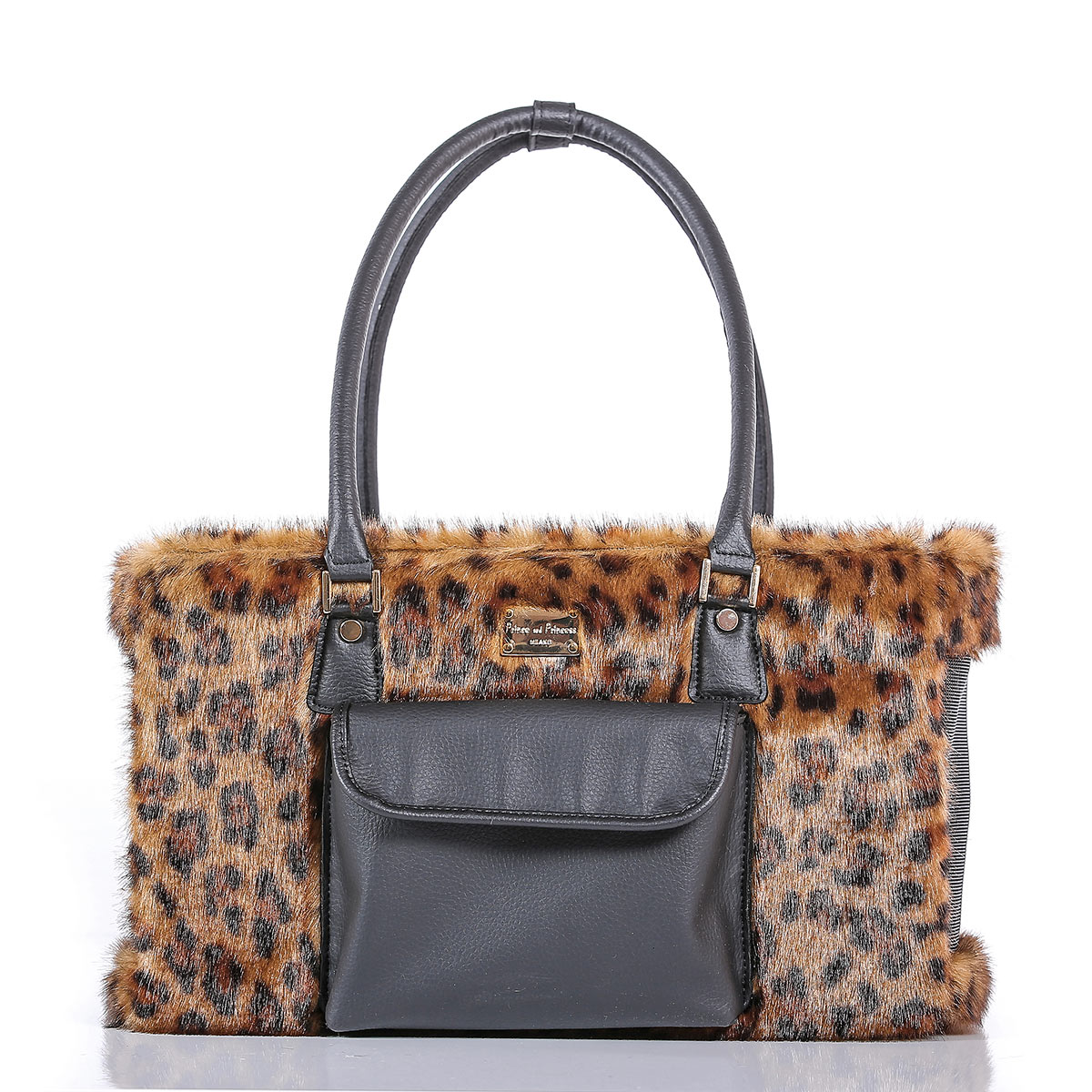 c1859b30d4 TOTE BAG ANMALIER – TOTE BAG WITH ECOFUR – LEOPARD / GOLD | Prince ...